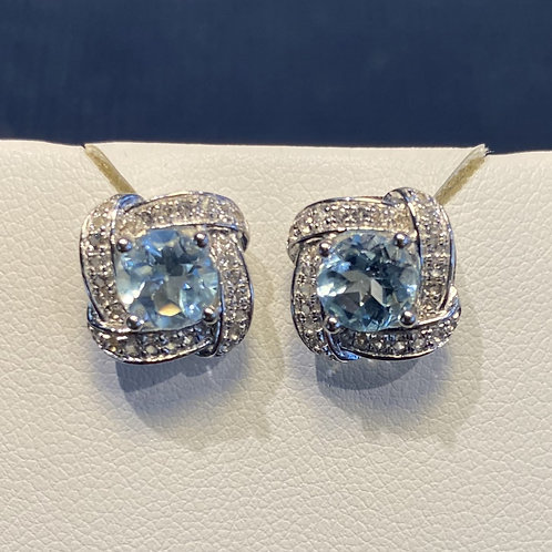 Sterling Silver Blue and White Topaz Earrings