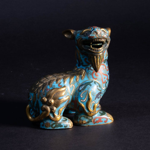 Champlevé Gilded Foo Dog Small Statue Art Sculpture
