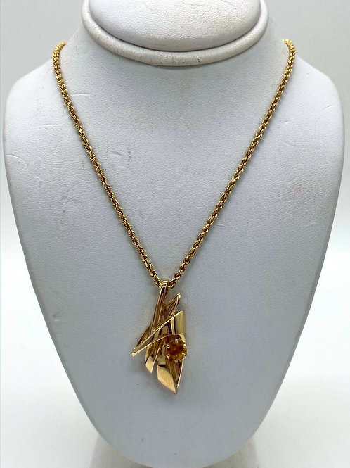 14 K Yellow Gold Citrine Necklace