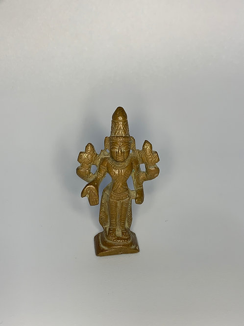 19th Century Bronze Southern Indian Miniature Sculpture of Lord Vishnu
