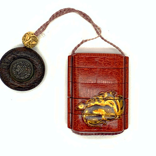 Edo Japanese Red Lacquer Inro with Gilded Deer and Horn Netsuke