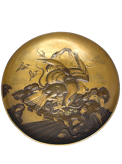 Meiji 19th Century Japanese large Presentation Lacquer Charger with Eagle