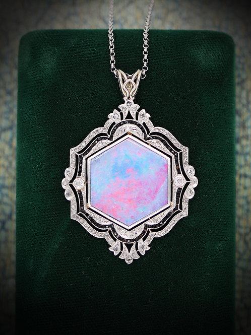 Platinum & 14 K Gold Art Deco Pendant with Opal Doublet (Pink, Purple & Blue)