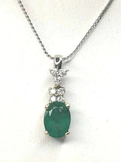 14K 14 K White Gold and Emerald Pendant with Diamonds