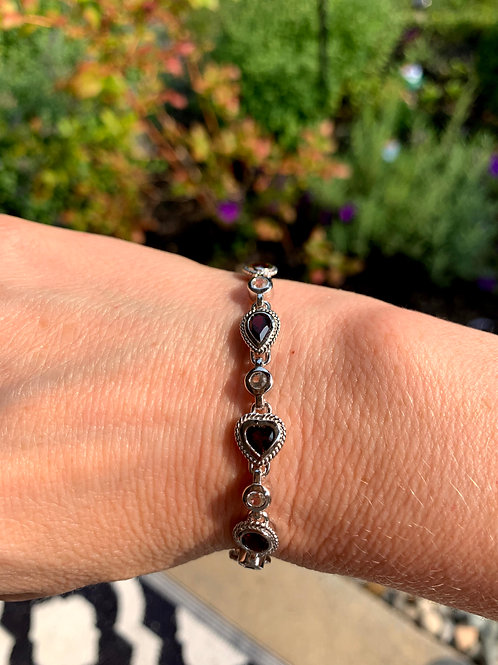 Silver, Garnet and White Topaz Bracelet with Shaped Stones