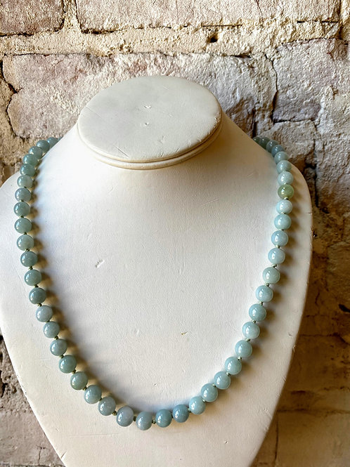 "28"" Natural Jadeite 14K Gold Necklace"