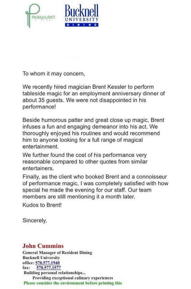 Pennsylvania Magician Brent Kessler Testimonial