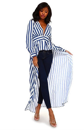 Striped High Low Fashion Top