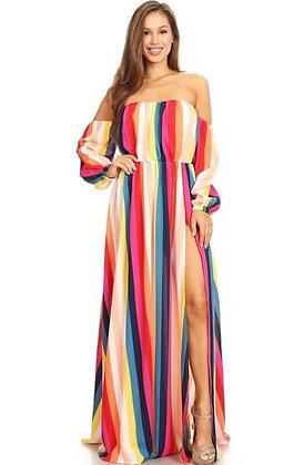 Striped Multi Color Maxi