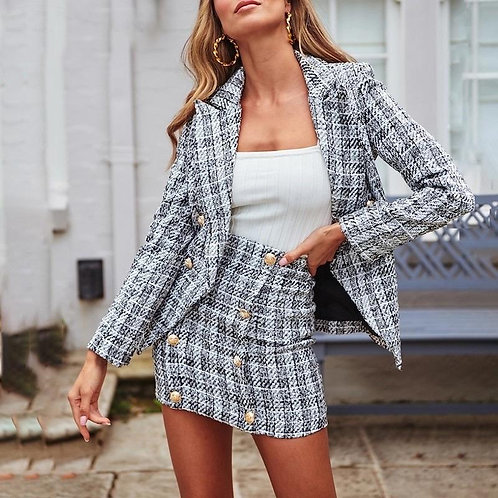 Ellsa Tweed Blazer Two Piece Set