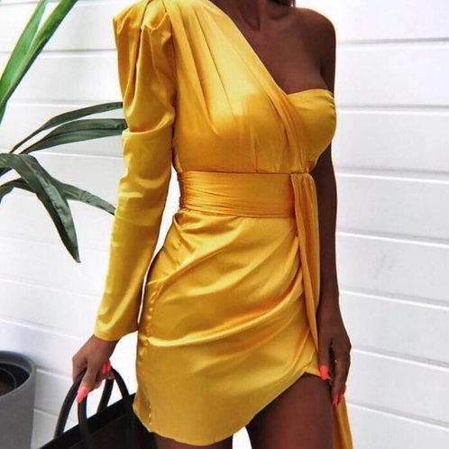 Karina One Shoulder Satin Dress