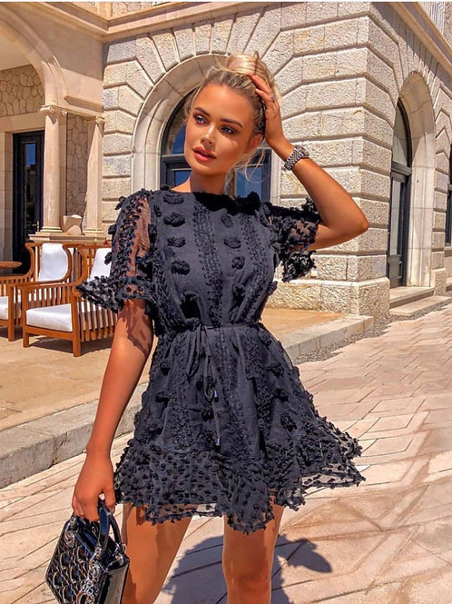 Hellen Lace Flare Mini Dress