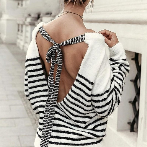 Merry Backless Mohair Pullover Sweater