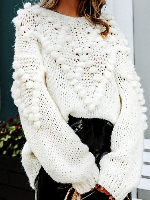 Pompom Handmade Knitted Sweater