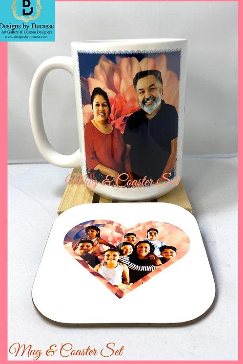 Pink Rose Mug & Heart Shaped Coaster Set