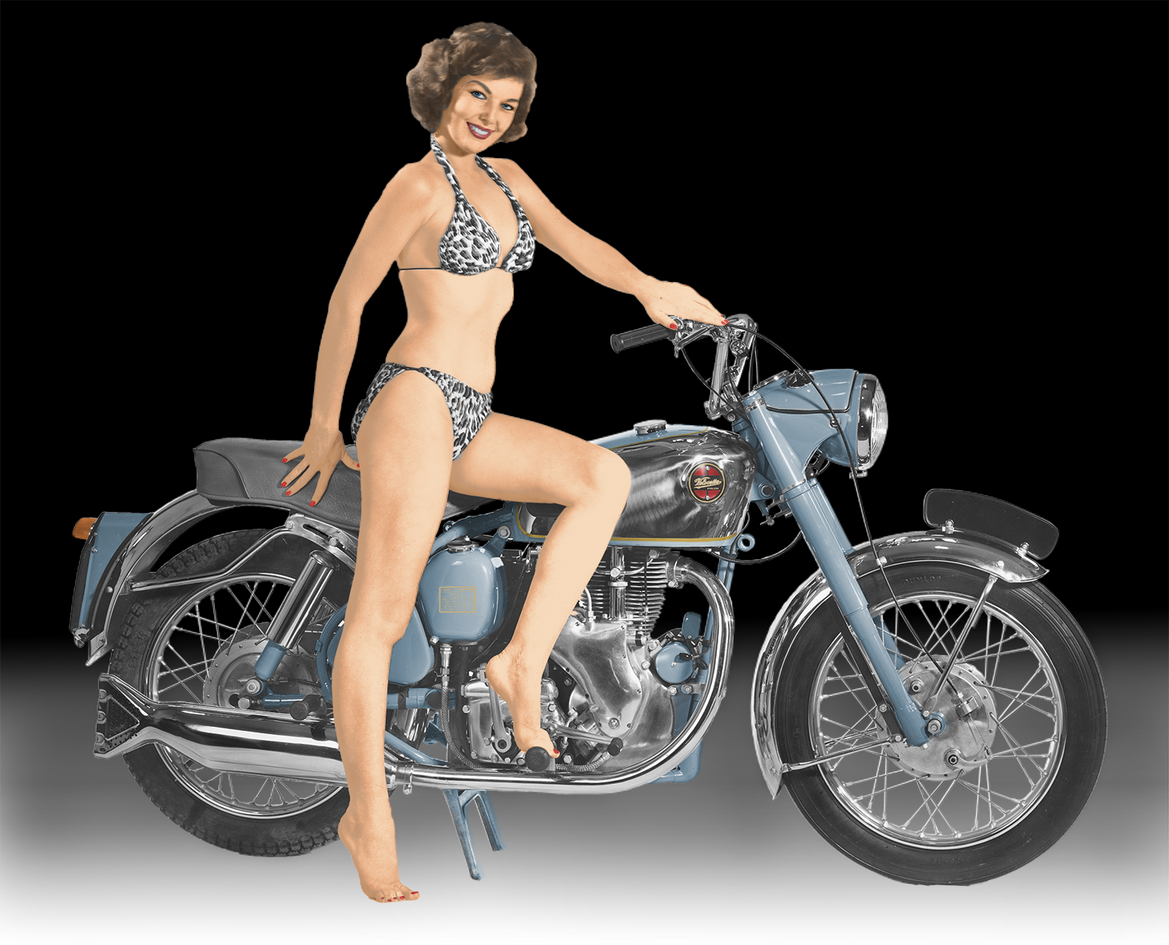 Model on a Velocette Venom 1956