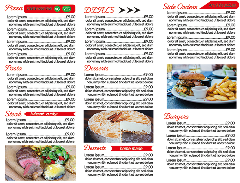 Restaurant trifold Menu for printing reverse
