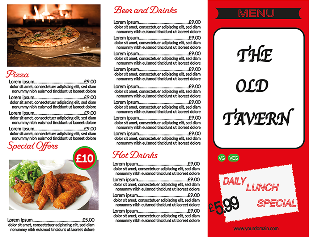 Restaurant trifold Menu for printing front