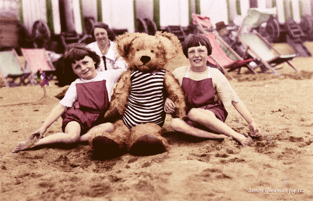 Two girls on the beach in July 1928