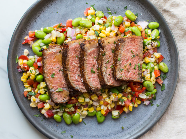 Permalink to Spice Crusted Strip Steak With Corn Salad