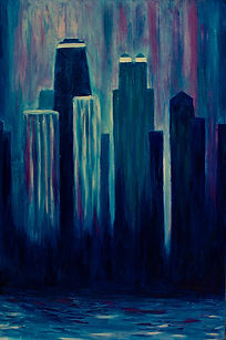 DessiArt, cityscape of Chicago, oil on canvas