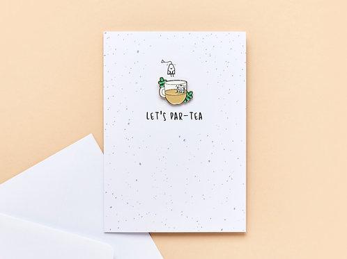 'Let's Par-Tea' Enamel Pin Card