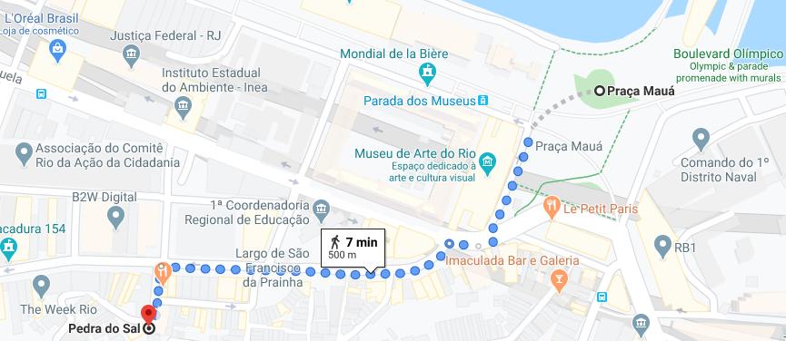 mapa de distância da praça mauá até a pedra do sal