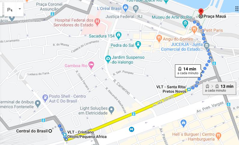 mapa do google que mostra a distância da central do brasil até a praça mauá com transporte público
