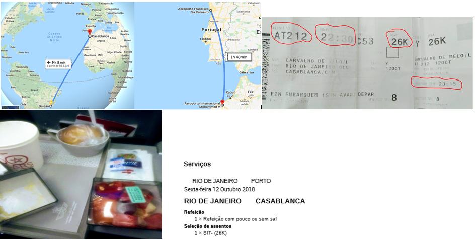 Mapa de distância, assim como o bilhete de passagem do voo e o serviço de bordo da Royal Air Maroc