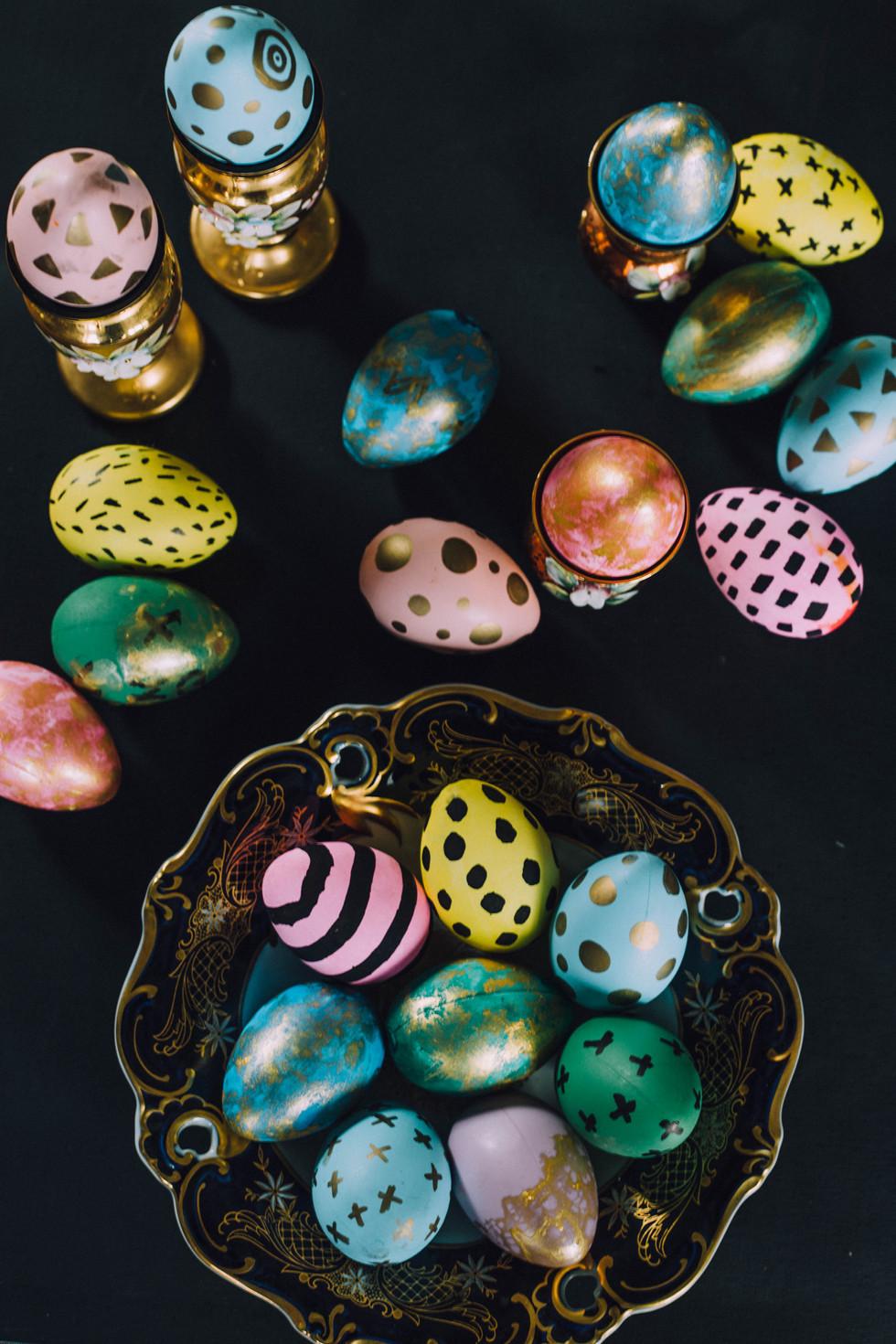 Still life photo of Easter eggs