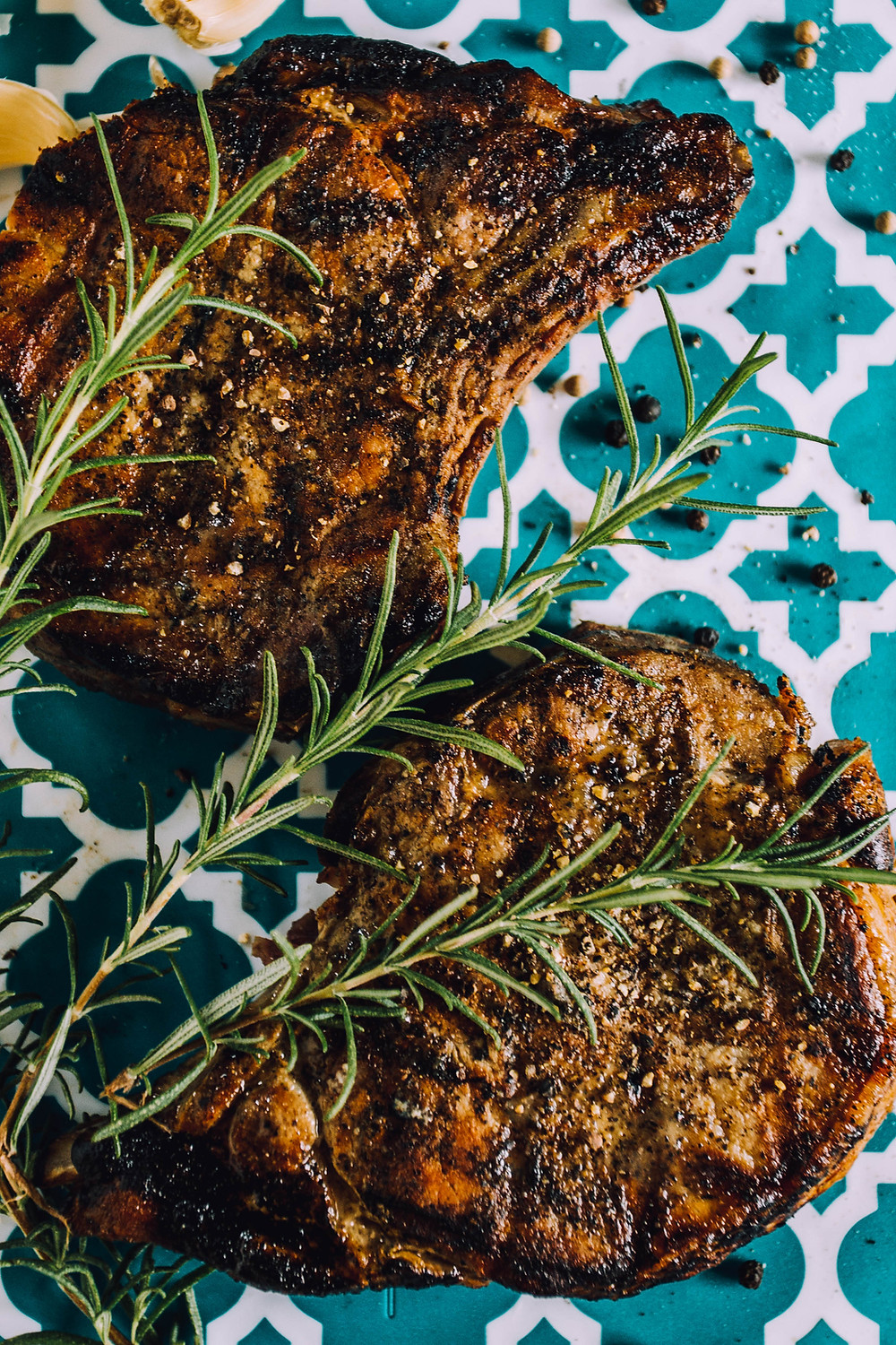 Grilled Pork Chops with rosemary garlic butter