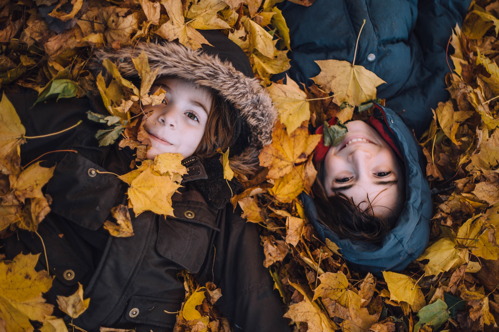 Lifestyle photo of kids in the fall