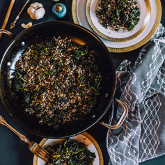 Lifestyle food photography of kale and quinoa salad