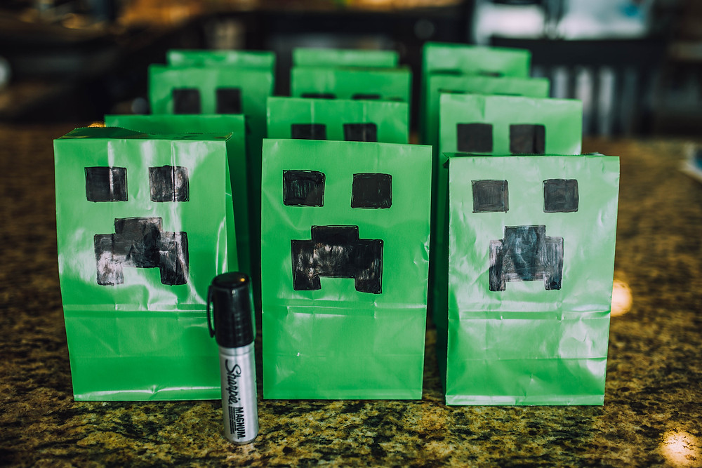 DIY Creeper Goody Bags for Minecraft Party