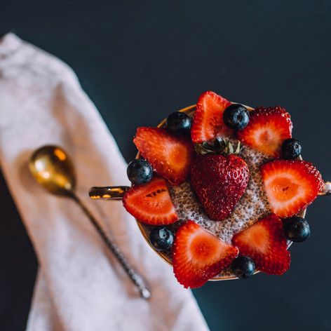 Food photography of chia seed pudding