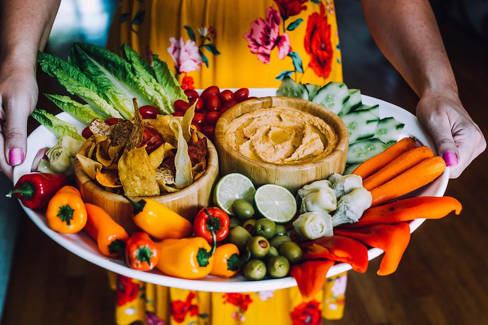 Vegetable hummus platter