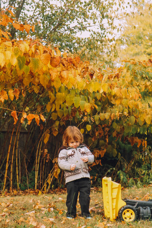 Lifestyle image of a little boy in the fall