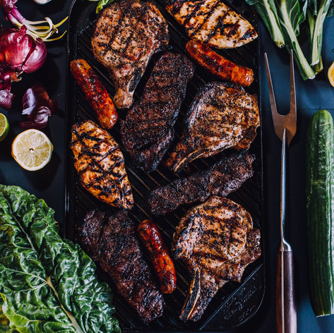 Food photo of grilled steak, pork chop a