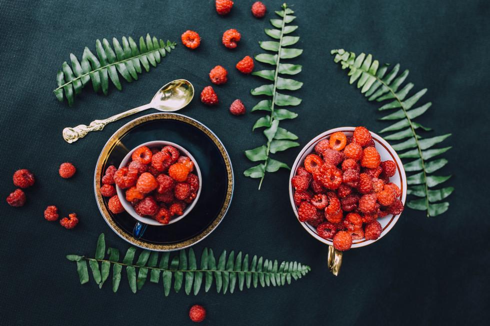 Still life food photo of raspberries for social media
