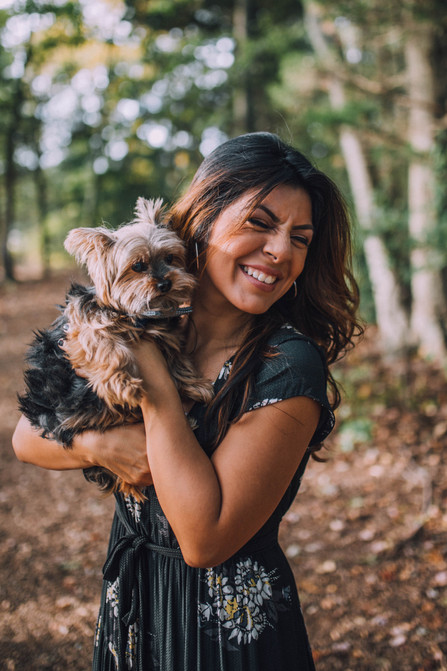 Lifestyle photo of a woman with her dog