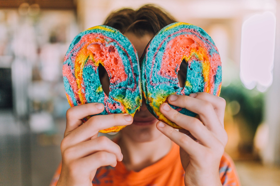 Lifestyle photo of the rainbow bagels
