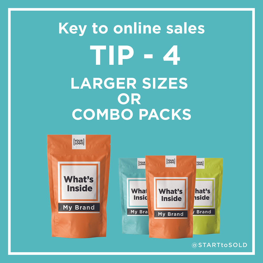 Customers will get a better per square inch value per shipping fee with LARGER OR COMBO packs.