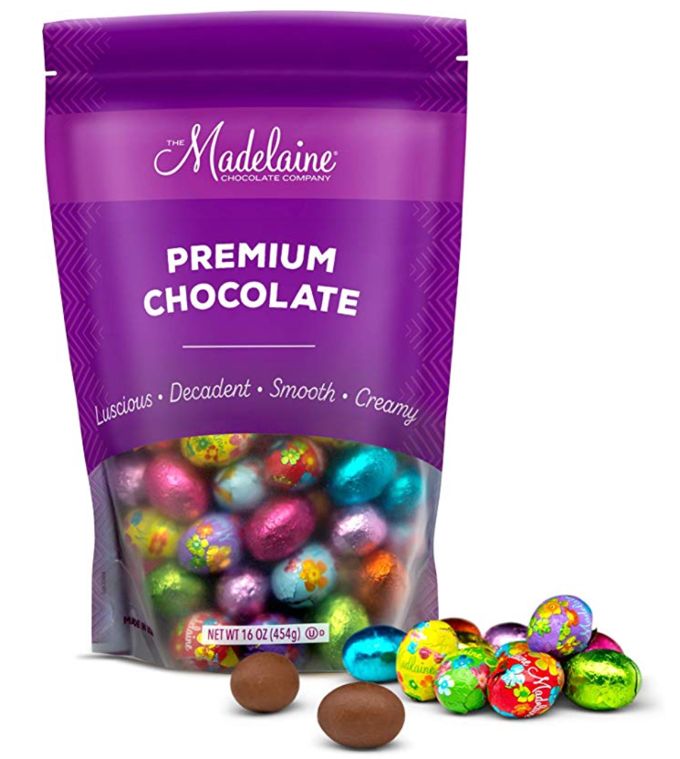 Consider digital mock-ups, when possible, on print or nongiftable packaging. The realism is incredible and it's much easier to read any printed text that is on packaging. Madelaine Chocolate Company is an excellent example of a business doing a good job with their online product listing.