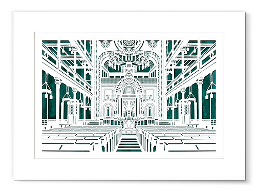 The New Synagogue in Gleiwitz, Germany (today Gliwice, Poland). Laser paper cut