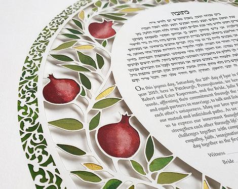 Papercut Ketubah Pomegranates