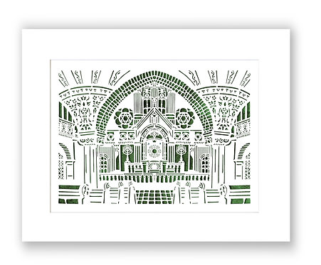 Synagogue of Chemnitz, East Germany. Laser paper cut