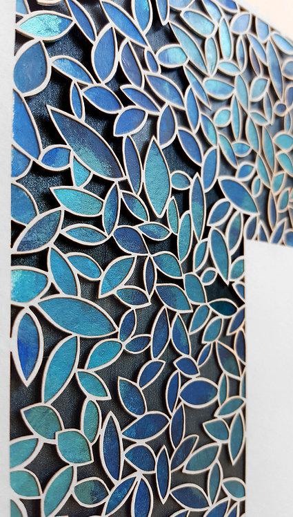 Modern Paper cut Ketubah, Custom Ketubah, Blue Leafs