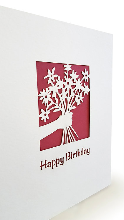 Happy Birthday papercut, Set of 5 Cards, Greeting