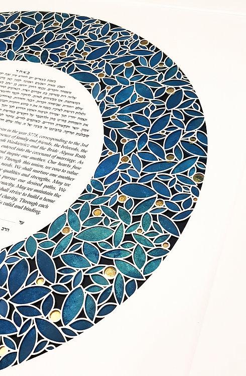 Modern Papercut ketubah #012 Round Ketuba, Shades of green Leaves, 24k g