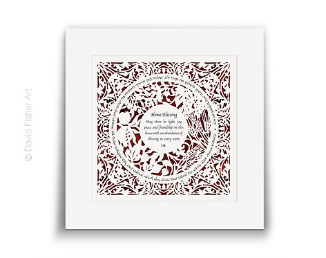 Jewish Home Blessing - Seven Species square, (English & Hebrew)